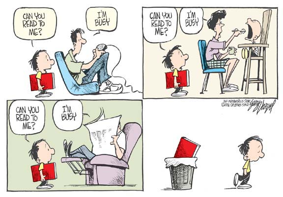 Everyone's too busy to read for the kid, who gives up and throw the book in the trash.