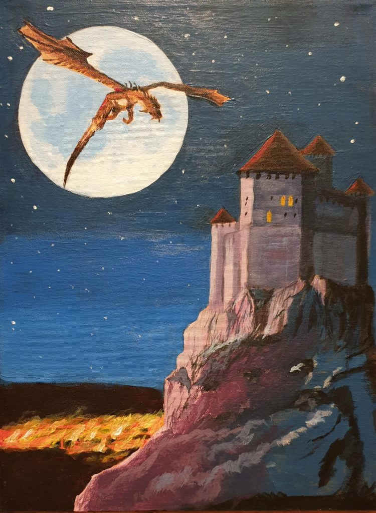 Acrylic painting of a dragon flying in the moonlight, burning town in the background and a castle on a hill nearby