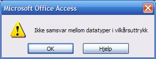 Feilmelding i Access